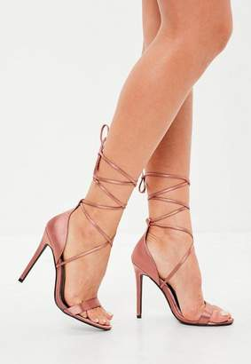Missguided Bronze Lace Up Barely There Heels