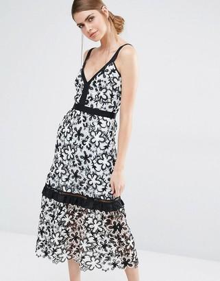 Self Portrait Line Floral Lace Midi Dress $514 thestylecure.com