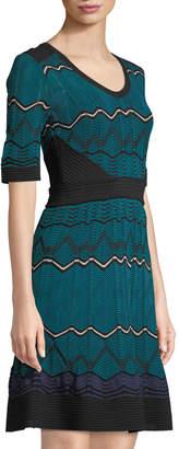 M Missoni Chevron-Striped Short-Sleeve Midi Dress, Blue