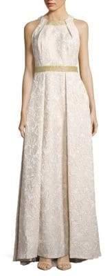 Carmen Marc Valvo Brocade Halterneck Gown