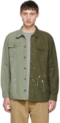 John Elliott Green Distorted Military Shirt
