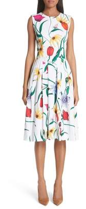 Carolina Herrera Sleeveless Allover Floral A-Line Dress