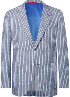 Isaia Navy Unstructured Striped Slub Wool-Blend Blazer