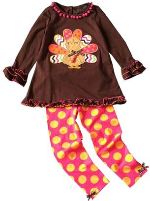 Fashion Baby Infant Little Girls Thanksgiving Turkey Pant Set Outfit