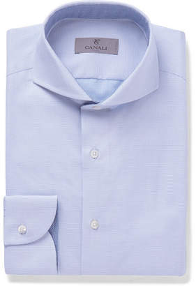 Canali White Slim-Fit Cutaway-Collar Pin-Dot Cotton-Jacquard Shirt - Blue