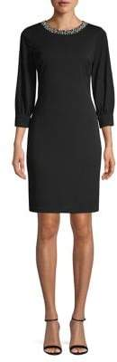 Karl Lagerfeld Paris Beaded Cuff-Sleeve Sheath Dress