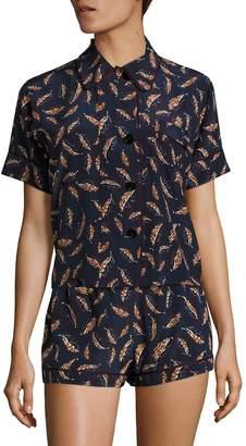 Araks Women's Shelby Printed Silk Charmeuse Pajama Top