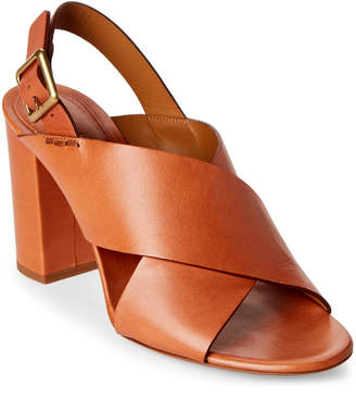 Chloé Cognac Crisscross Block Heel Slingback Sandals