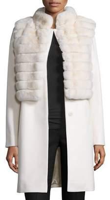 Fleurette Rabbit Fur & Wool Jacket, Parchment