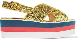 Gucci Glittered Leather Platform Sandals - Gold
