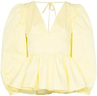 STAUD V-neck peplum hem stretch-cotton blouse