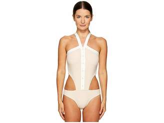 Jonathan Simkhai Collared Oxford One-Piece Women's Swimsuits One Piece
