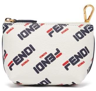 Fendi Mania Leather Make Up Bag - Womens - White Multi