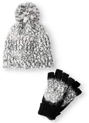 Time and Tru Women's Cozy Marled Beanie and Poptop Gloves 2-Piece Set