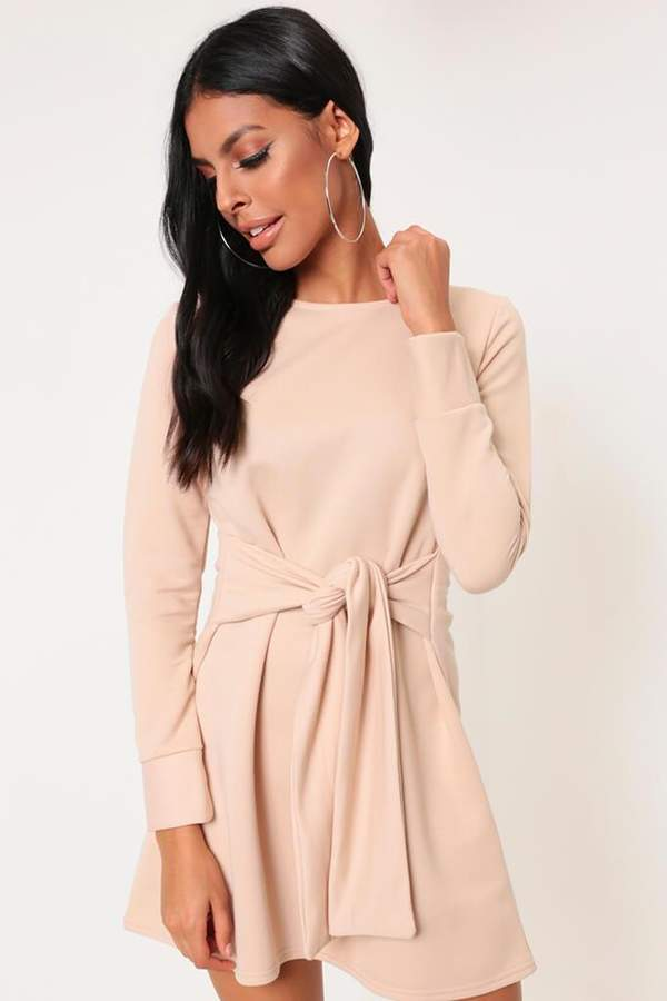 Isawitfirst Sand Tie Waist Sweater Dress