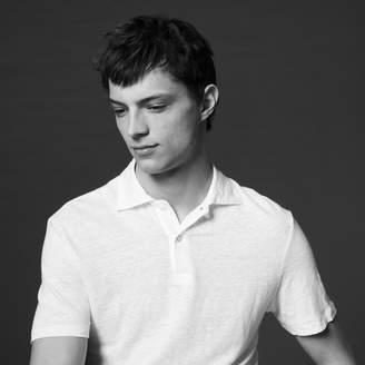 Sandro Plain linen polo shirt