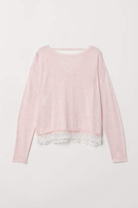 H&M Fine-knit Sweater with Lace - Pink