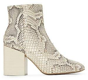 Mercedes Castillo Women's Block-Heel Snakeskin-Embossed Leather Ankle Boots