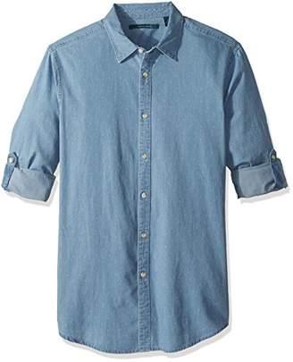 Perry Ellis Men's Dotted Denim Roll Sleeve Shirt