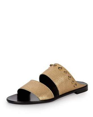 Lanvin Studded Leather Two-Band Mule, Gold $625 thestylecure.com