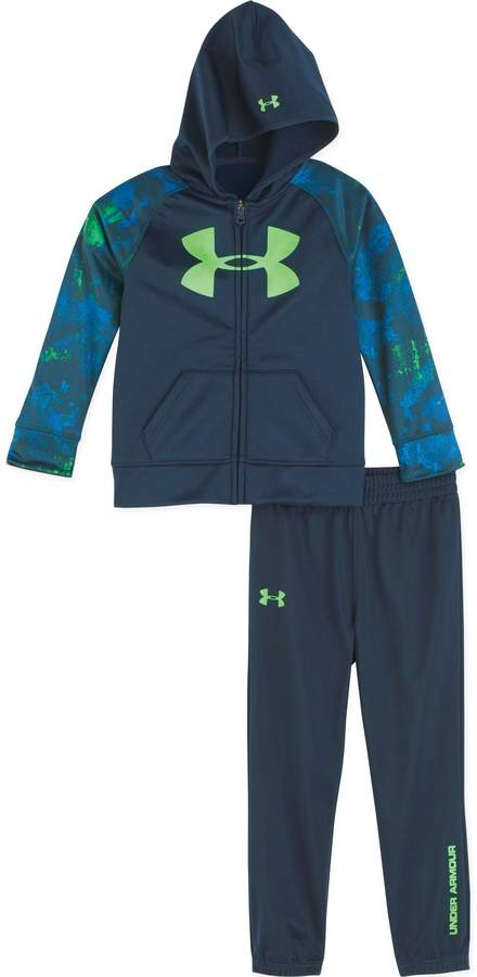 Under Armour Size 18M 2-Piece Bedrock Camo Hooded Jacket and Pant Set in Navy