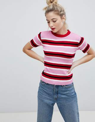 Daisy Street Knitted Sweater In Candy Stripe