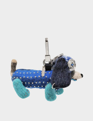 Burberry Sausage Dog Charm Bag Accessory in Teal Blue Cashmere and Leather