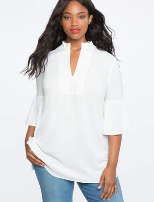 ELOQUII Mandarin Flare Sleeve Tunic