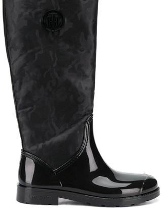 Tommy Hilfiger shiny camouflage Wellington boots