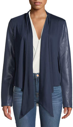 Bagatelle Drape-Front Faux Leather-Sleeve Jacket
