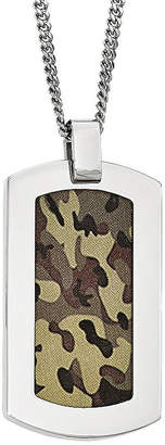 FINE JEWELRY Mens Stainless Steel Brown Camouflage Pendant
