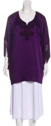 Andrew Gn Embroidered Scoop Neck Top