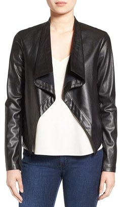 Women's Bb Dakota 'Peppin' Drape Front Faux Leather Jacket $87 thestylecure.com