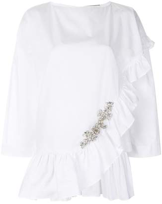 Christopher Kane crystal frill cotton top