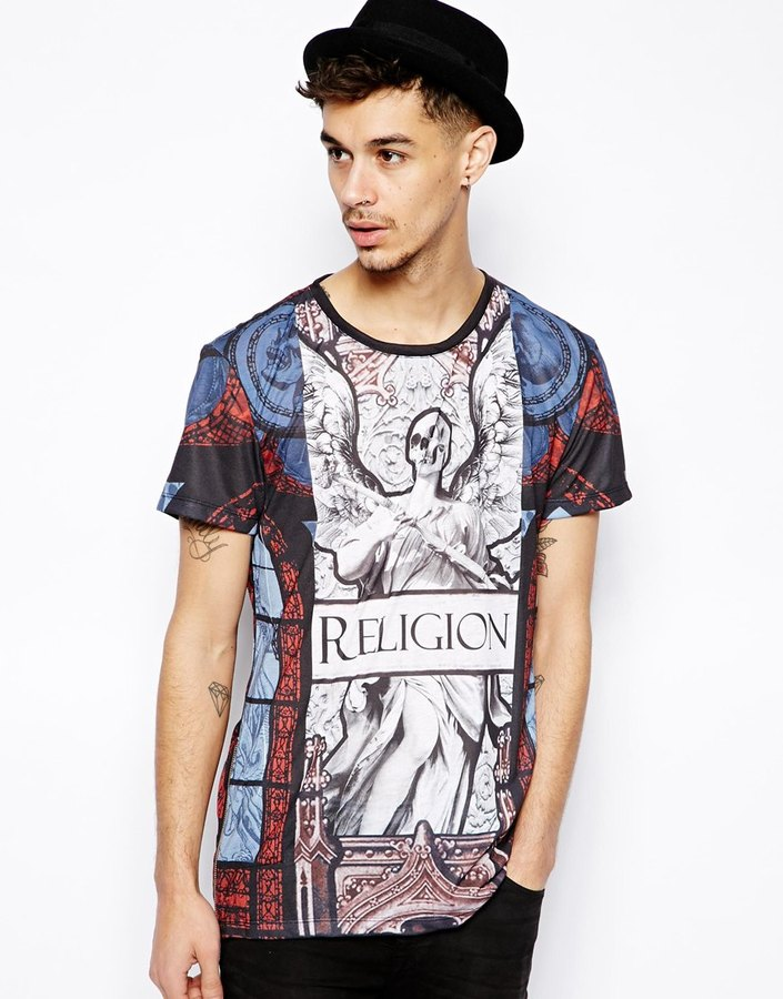 Religion T-Shirt with Zip in All Over Print - Black