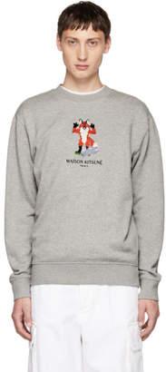 MAISON KITSUNÉ Grey Pixel Fox Sweatshirt