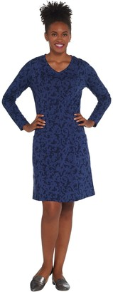 Denim & Co. Regular Printed Long-Sleeve V-Neck Fit & Flare Dress