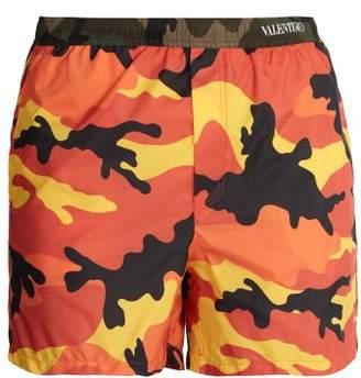Valentino Camouflage Print Swim Shorts - Mens - Orange