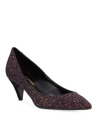 01229423b6736 Saint Laurent Charlotte Glitter Point-toe Kitten-Heel Pumps