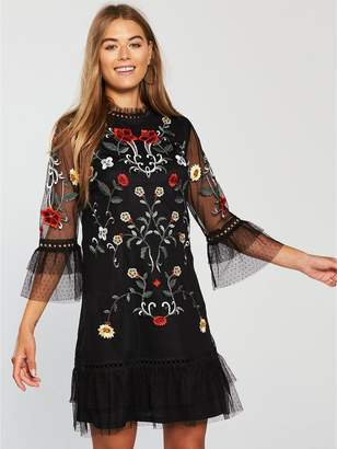 Very Embroidered Tunic Dress - Black