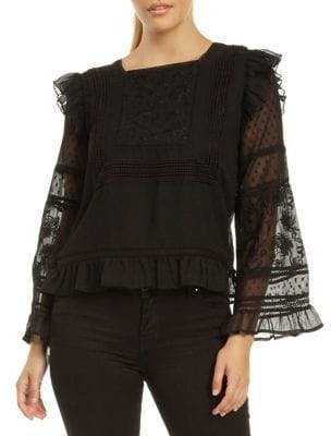 Dex Ruffle-Trimmed Embroidered Blouse