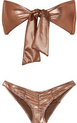 Lisa Marie Fernandez Poppy Ruched Knotted Metallic Bikini - Bronze