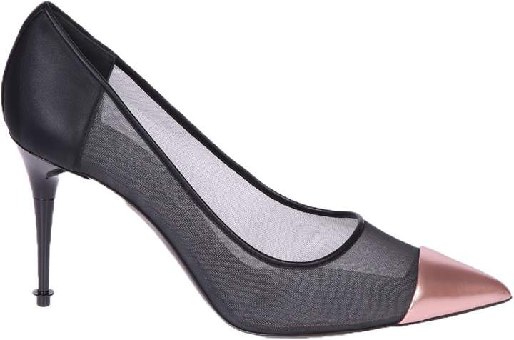 Leather And Mesh Pumps