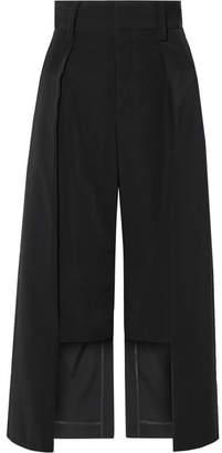 Noir Kei Ninomiya Cropped Satin-twill Wide-leg Pants - Black