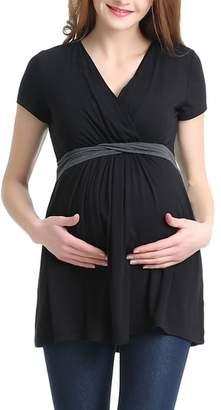 Kimi and Kai Jasmine Belted Maternity/Nursing Surplice Top