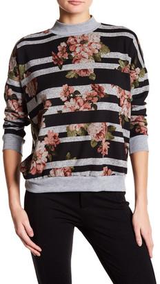 Bobeau Mock Neck Floral Stripe Pullover $58 thestylecure.com