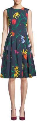 Carolina Herrera Sleeveless Floral-Print Fit-and-Flare Cocktail Dress