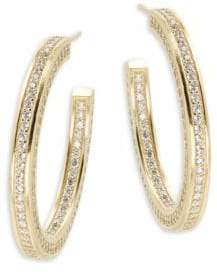 Freida Rothman Classic Radiance Cubic Zirconia & 14K Gold-Plated Sterling Silver Hoop Earrings- 1.5in