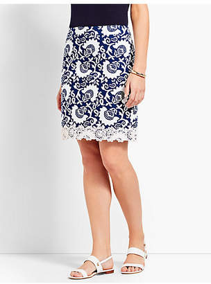 Talbots Lace-Trimmed Stretch Cotton Canvas Skirt-Woodblock Floral