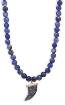 Sydney Evan 14K Rose Gold& Sapphire Bead Pave Horn Pendant Necklace